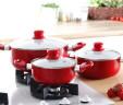 Zestaw nowoczesnych garnków z powłoką ceramiczną